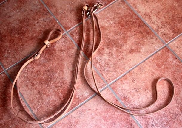 Bild 2: Merothische Hundeleine aus naturfarbenem Leder, Führerteil und Halsung.