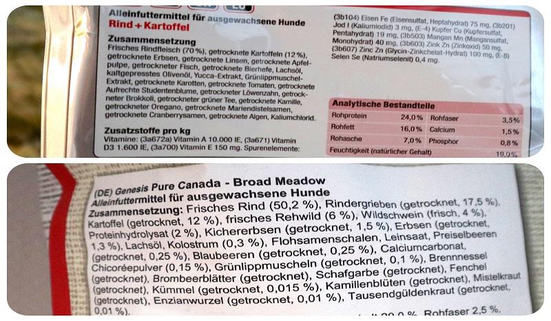 GENESIS und PLATINUM Trockenfutter getreidefrei: Die Deklarationen im Vergleich.