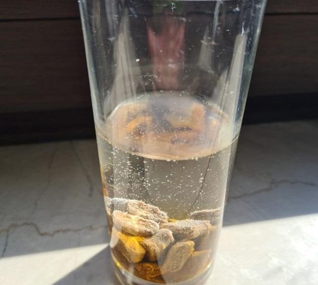 Ein Quelltest zeigt: Auch nach einer Stunde im Wasserglas ist Futter, das mit der Fleischsaftgarung hergestellt wurde, nicht aufgequollen. (Foto: Julia Ross)